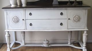q what do you suggest for this antique sideboard, painted furniture, repurposing upcycling, Antique white paint with glaze and dark walnut top