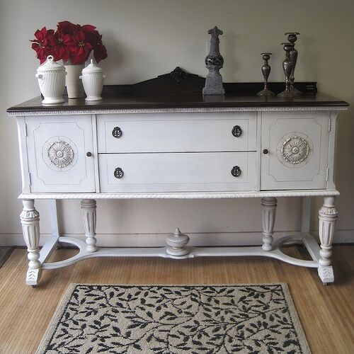 Antique white paint with glaze and dark walnut top.