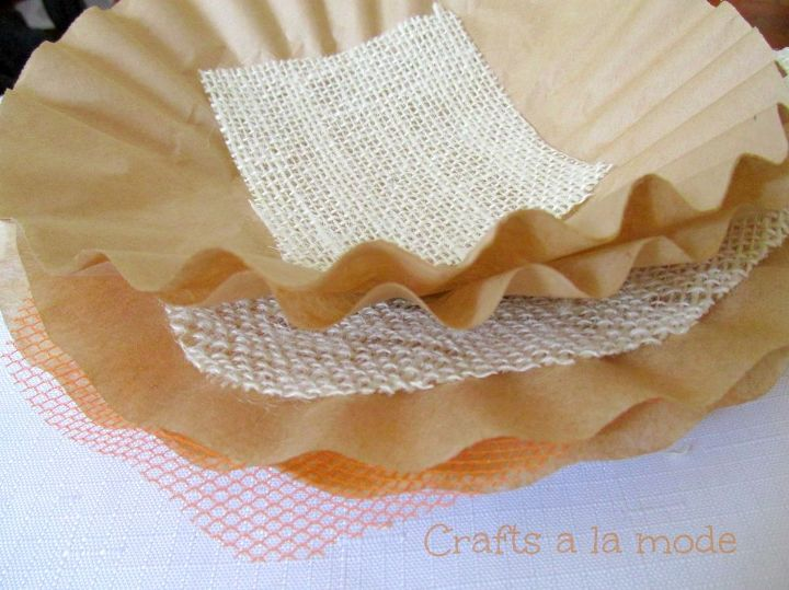 fall burlap and coffee filter wreath, crafts, repurposing upcycling, seasonal holiday decor, wreaths, I stacked up coffee filters burlap circles and orange netting circles and a square piece of burlap on the top