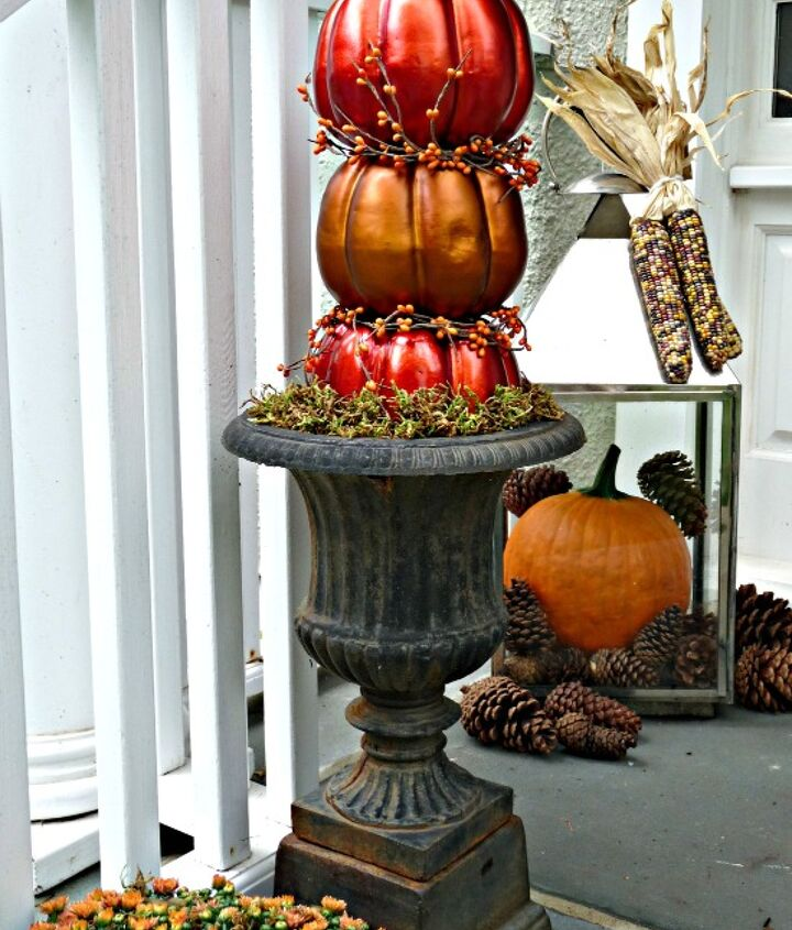 DIY Pumpkin Topiary - $7.50.   http://eclecticallyvintage.com/2012/09/fall-porch-diy-pumpkin-topiaries/