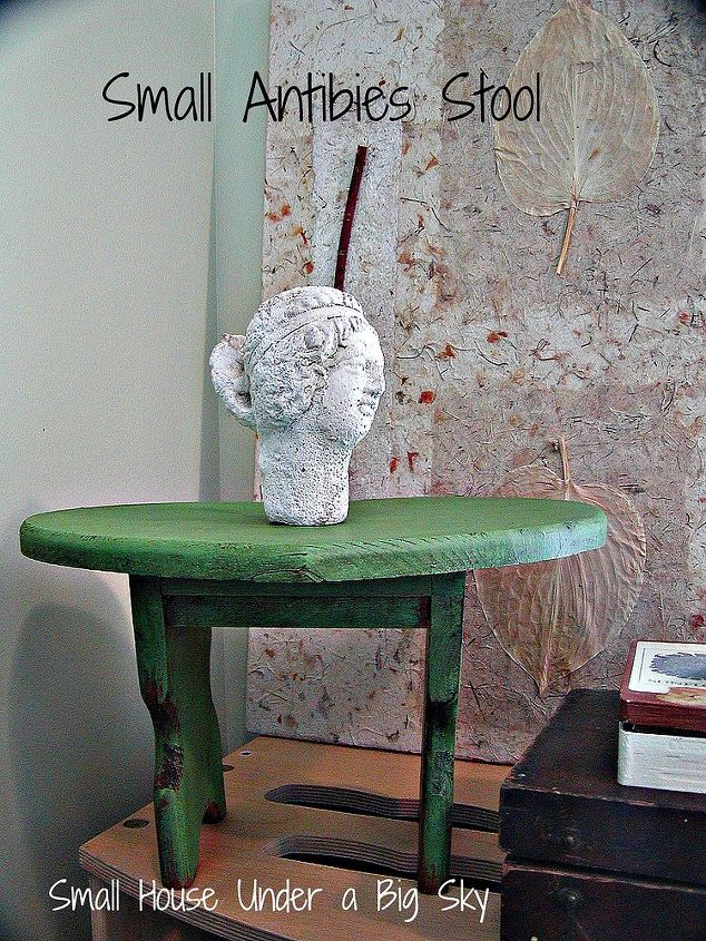 Testing the new Annie Sloan Antibes Green chalk paint on a small stool. Dark wax was applied directly over the color.