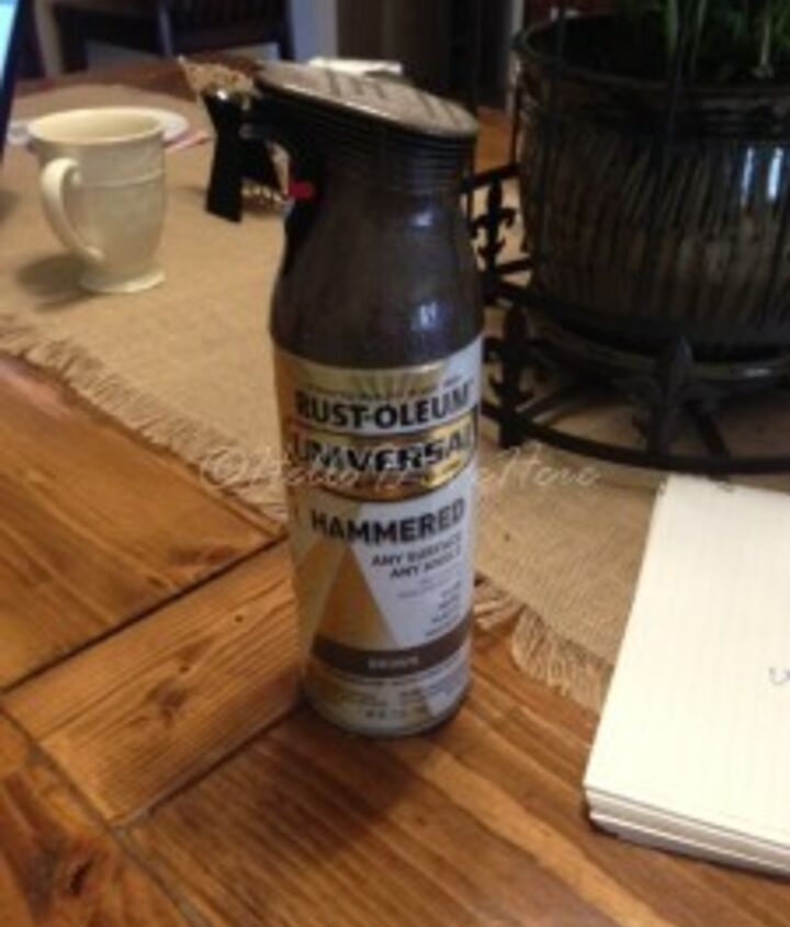 I used Rust-Oleum® Universal Paint and Primer in One in a Hammered Brown which I found marked down by someone who returned to Lowe's in the oops paint section - you have to love a sale!