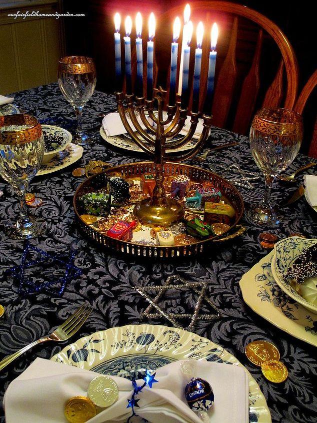 chanukah eight candles burning bright, home decor, seasonal holiday decor, 8th night table setting and lighted Chanukah menorah