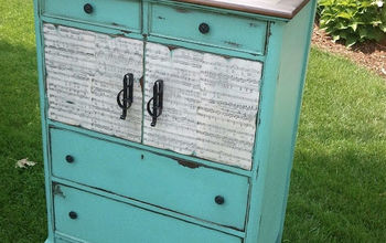 antique dresser refinished in music, painted furniture, repurposing upcycling, After