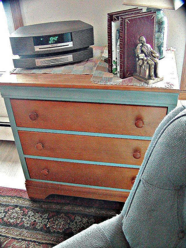 This dresser is a bit more modern than most of my work. This chalk painted and maple wood stained storage unit sits in my family room and holds DVD, CD, off season pillows etc.