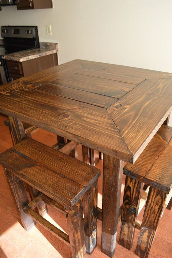 I love all the detail in the wood and the color contrasts very well with our cabinet color.  We custom build rustic furniture pieces like our pub table. Feel free to visit our Etsy shop. www.etsy.com/shop/applecreekfurniture