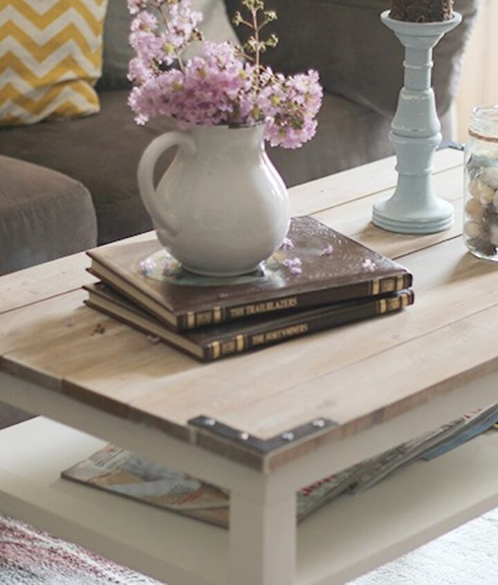 Table transformation with a planked wood top and brackets.  http://upcycledtreasures.com/2013/08/diy-planked-farm-style-coffee-table/