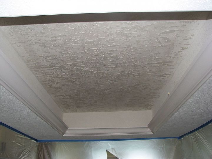 After the Skip Trowel was applied we added crown molding around the perimeter of the new kitchen trey ceiling: