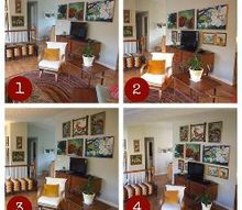 we need help with our gallery wall, home decor, living room ideas, This shot shows the 4 arrangements we re considering unless you ve got some better ideas we haven t thought of