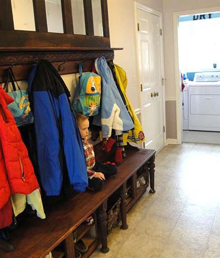 mudroom storage bench made from kitchen cabinets, laundry rooms, painted furniture