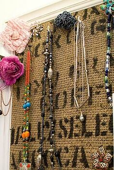 jewelry organizer from a burlap coffee sack, crafts, organizing, An old frame and a coffee sack where used to create this jewellery organizer