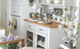 white countertops, countertops, home decor, kitchen design, kitchen island, Original butcher block countertops on baking station