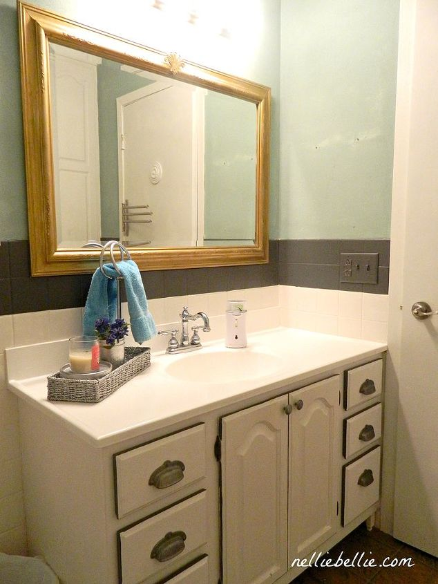Rub n Buff and texture paint create a faux antique mirror