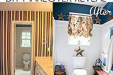rustic boys bathroom before and after, bathroom ideas, home decor, The bathroom before and after the striped wallpaper screamed early 90 s 20 years later it s time for an update