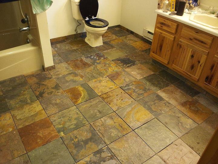 new bathroom slate tile, bathroom ideas, home decor, tiling