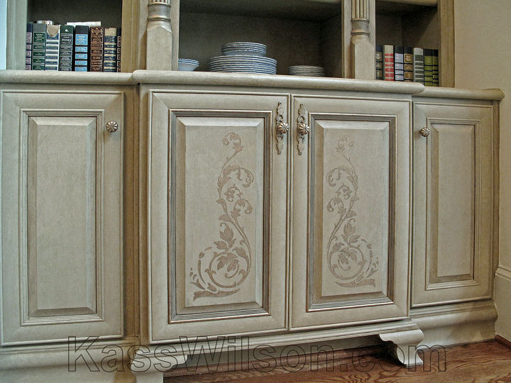 Painted cabinets with elegant stencil design. http://kasswilson.com/shift-into-neutral-a-dining-room-redesign/