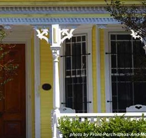 Brackets and dentil moldings create a whimsical look on this porch.