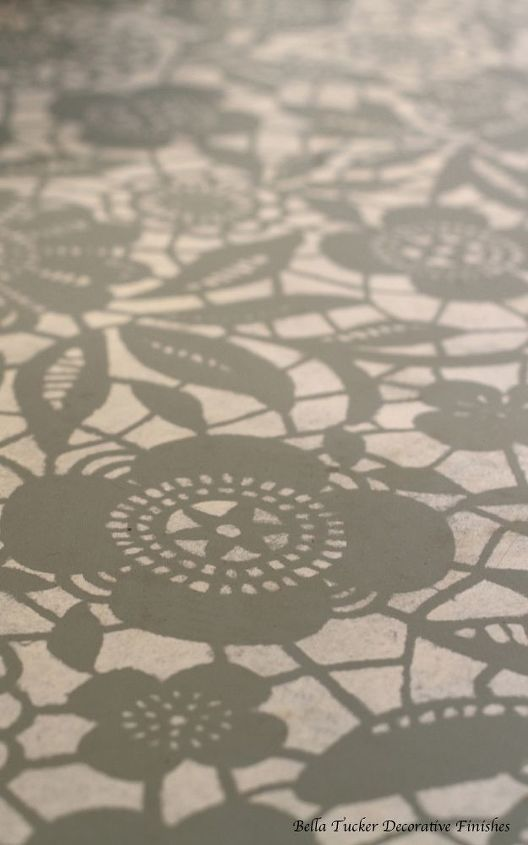 goodbye carpet hello stenciled floor with annie sloan chalk paint, bedroom ideas, chalk paint, flooring, painting, Skylar s Lace stencil from Royal Design Studios