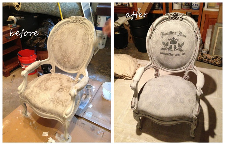 We painted this chair with Annie Sloan Paris Gray