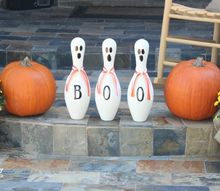bowling pin ghosts, crafts, halloween decorations, painting, seasonal holiday decor, Finally I drew a ghost face on each one and they were done Super easy