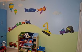 children bedroom wall murals, painting, wall decor, Transportation theme wall mural for a boys bedroom