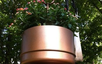 brass lamp finds new life as hanging planter, flowers, gardening, repurposing upcycling, The trick was to find a flower basket that was just tall or short enough to fit inside without seeing a large portion of the pot