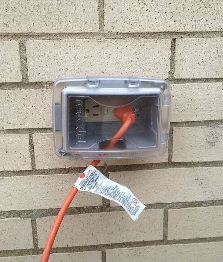Have a weatherproof GFCI cover to protect your electrical box from rain