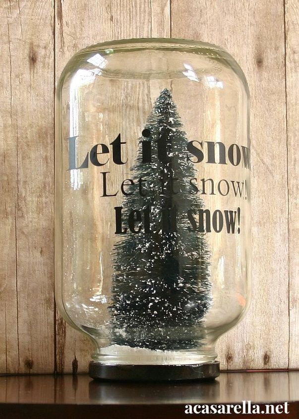 bottle brush snow globes, christmas decorations, crafts, repurposing upcycling, seasonal holiday decor, This one contains a bottle brush Christmas tree some epsom salts and some glitter Vinyl lettering adds a fun touch