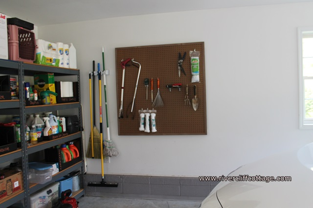 Make sure all items are off the floor.  Hooks and pegboard keep mops, brooms, and garden items off the floor for cleanliness and seldom used items like clotheslines are easily found.