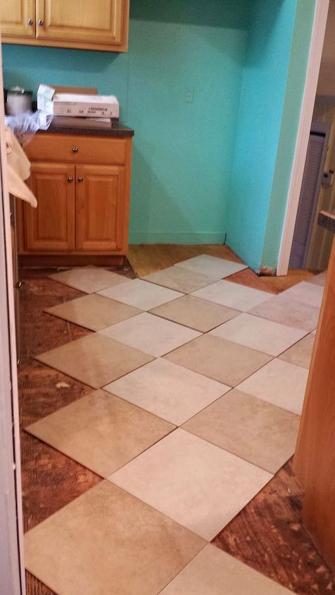 diy kitchen tile, diy, flooring, kitchen design, tile flooring, tiling, halfway through the project