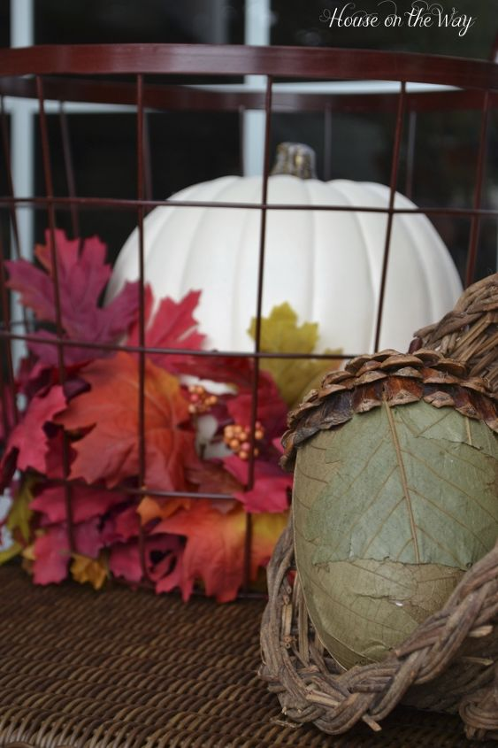 I also added my cornucopia filled with faux acorns.