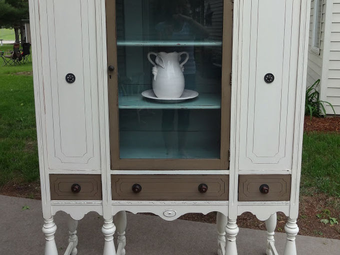 refinished depression era hutch, painted furniture, After
