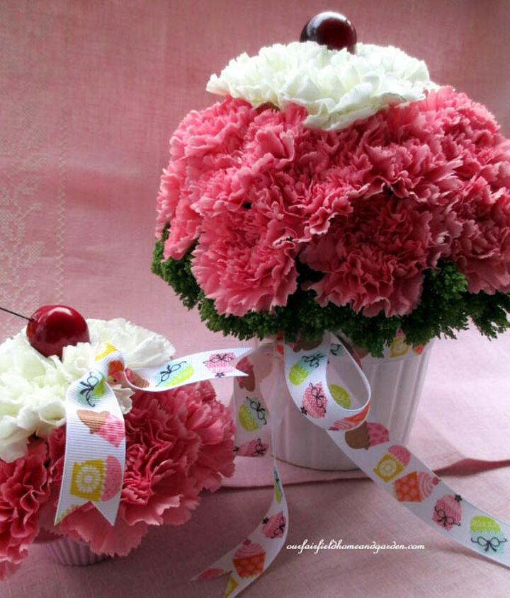 Cupcake flower arrangements! http://ourfairfieldhomeandgarden.com/diy-project-cupcake-craze-make-floral-cupcake-arrangements/