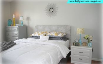 master bedroom updates on a budget, bedroom ideas, home decor, The bedding was purchased at Target Marshalls Homegoods I found the starburt mirror for 10 at Family Dollar