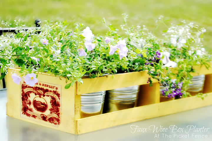 Give an old create a faux vintage wine box makeover and add your favorite flowers!