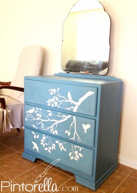 Finished painted dresser :)  Used Miss Mustard Seed's Milk Paint in French Enamel
