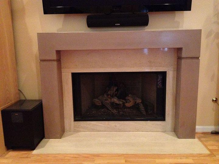 Concrete fireplace mantel & surround by Burco