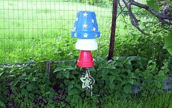 terra cotta wind chime, crafts, This is an easy to make yard decoration that sparkles in the sunlight