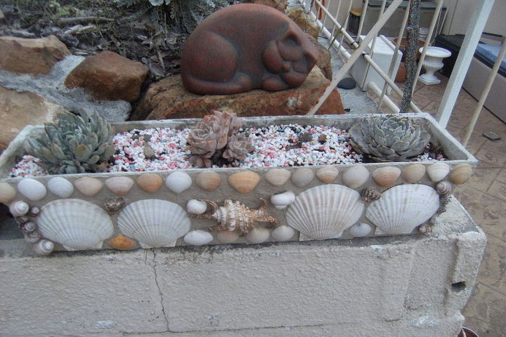 using shells to decorate flower pots, container gardening, crafts, flowers, gardening