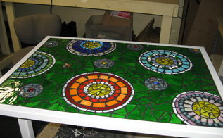 stained glass mosaic patio table, painted furniture, tiling, This is the finished table that I made for my screened in porch