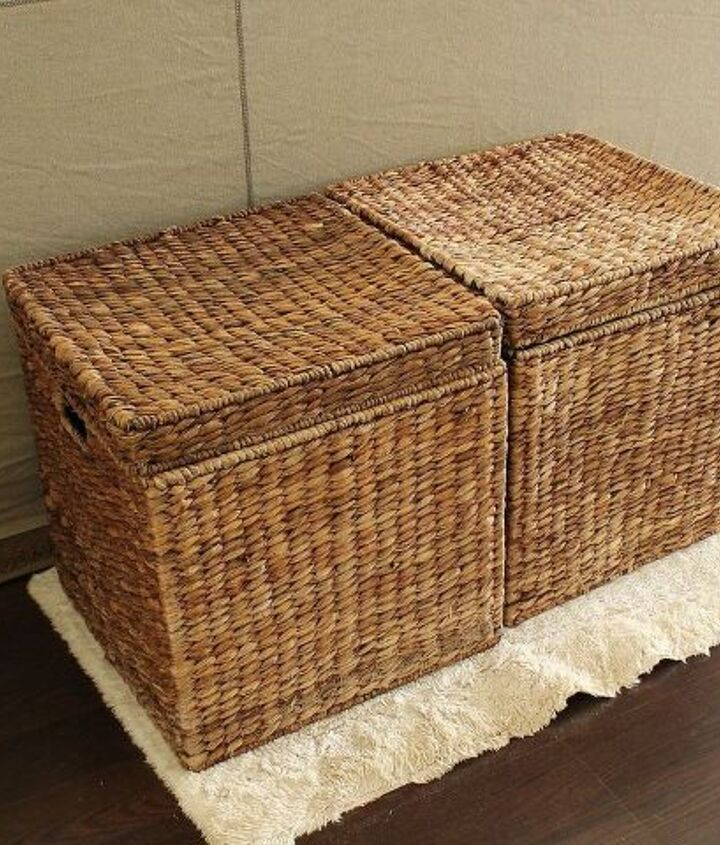 Here's another closed storage option. Large baskets. {They also work great for the kids shoes!}