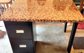 a penny desk, countertops, painted furniture, repurposing upcycling, Epoxied for a fabulous result