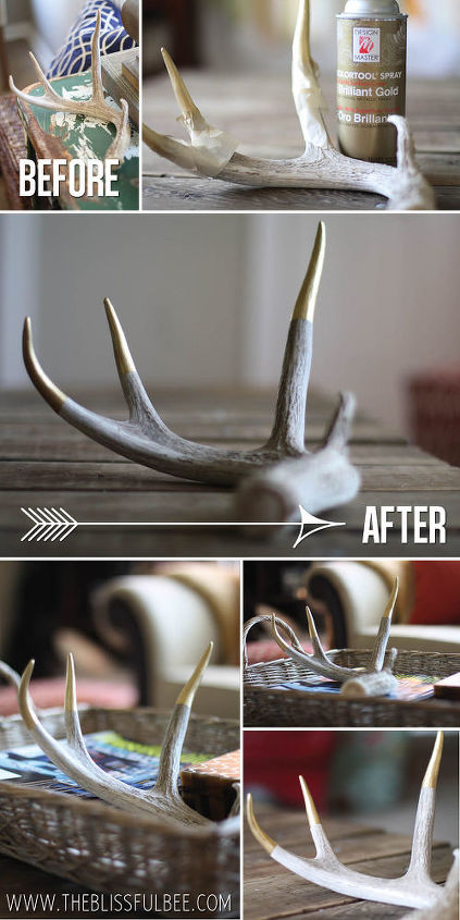 updating antlers with a gold twist, crafts