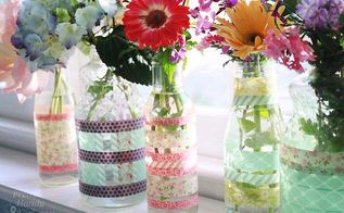 simple washi tape vases using recycled jars and bottles, crafts, Fill with water and flowers