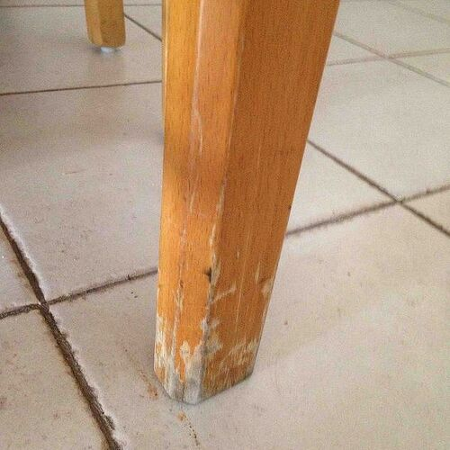 Hello, are there any ideas what can be done  with the damage to the legs of the table? Thank you!