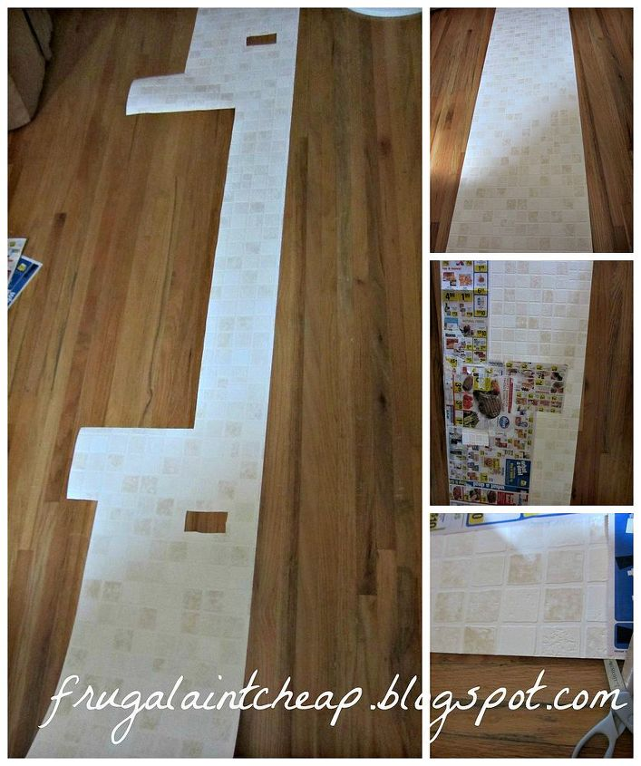make a template of the backsplash with scrap paper, in my case grocery ads