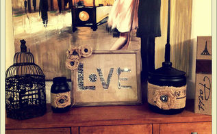 burlap and vintage buttons, chalkboard paint, crafts, repurposing upcycling, The burlap buttons and chalkboard paint trio