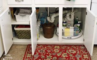 11 ways to organize under the sink, bathroom ideas, organizing, Lazy Susan and folded towels