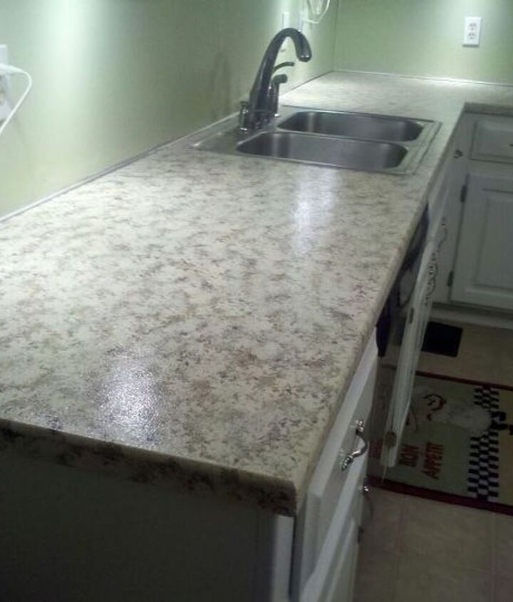 faux granite painted counters with craft paint, countertops, diy, how to, kitchen design, kitchen island, painting