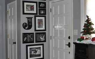 entryway, foyer, home decor, Carried the photo gallery to the ceiling